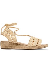 Schutz Genda Leather Trimmed Lace Up Woven Wedge Sandals Cream