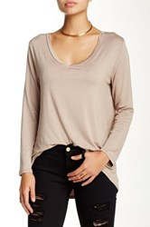 Blvd Solid V Neck Long Sleeve Hi Lo Tee Beige