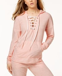 Material Girl Active Juniors' Lace Up Baby Terry Hoodie Created For Macy's Pure Pink