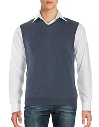 Black Brown Merino Wool Sweater Vest Flint Blue