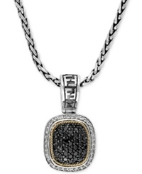 Effy Collection Balissima By Effy Necklace Black And White Diamond Square Pendant 1 Ct. T.W. In Sterling Silver And 18K Gold