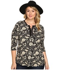 Lucky Brand Plus Size Floral Top Black Multi Women's Clothing