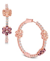 Joan Boyce Flower Crystal Pave Hoop Earrings Pink