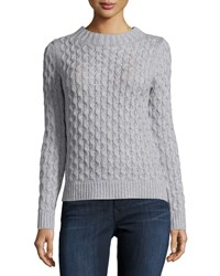 Neiman Marcus Open Stitch Cable Knit Sweater Mist Grey