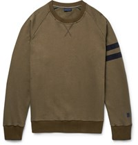 Lanvin Grosgrain Trimmed Distressed Cotton Jersey Sweatshirt Green