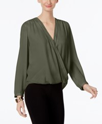 Inc International Concepts Wrap Blouse Only At Macy's Olive Drab