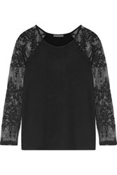 Tart Collections Caitlin Lace Paneled Stretch Modal Jersey Top Black