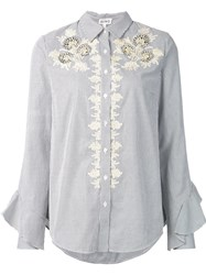 Suno Striped Lace Detail Shirt Grey
