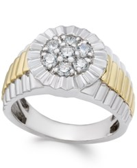 Macy's Men's Diamond Two Tone Cluster Ring 3 4 Ct. T.W. In 10K Gold And White Gold Two Tone