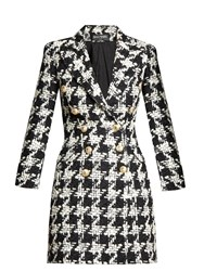 Balmain Double Breasted Hound's Tooth Wool Blend Coat Black White