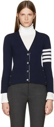 Thom Browne Navy Classic Short V Neck Cardigan