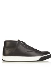 Lanvin Mid Top Leather Trainers Black