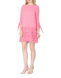 Tahari By Arthur S. Levine Embroidered Lace Dress Shocking Pink