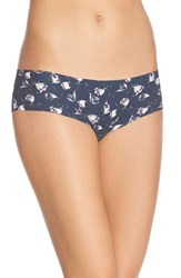 Women's Halogen 'No Show' Cheeky Hipster Briefs Grey Ebony Floral
