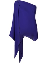 Plein Sud Jeans One Shoulder Draped Top Pink And Purple