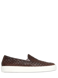 Yab Woven Leather Slip On Sneakers Brown