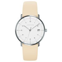 Junghans 047 4252 Women's Max Bill Date Leather Strap Watch Cream White