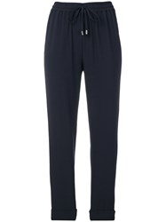 Emporio Armani Cropped Jogger Trousers Blue