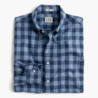 J.Crew Secret Wash Shirt In Heather Poplin Blue Plaid