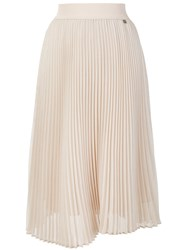 Twin Set Midi Pleated Skirt Polyester Nude Neutrals