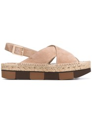 Paloma Barcelo Cross Over Sandals Women Leather Rubber 38 Nude Neutrals