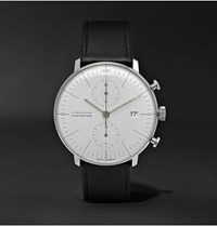 Junghans Max Bill Chronoscope 40Mm Stainless Steel And Leather Watch Ref. No. 027 4600.04 White