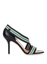 Christopher Kane Stripe Elasticated Strap Leather Sandals