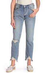 Free People Chewed Up Straight Leg Mid Rise Jeans Indgoblue