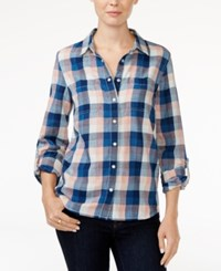 Tommy Hilfiger Roll Tab Sleeve Plaid Shirt Only At Macy's Pink Indigo Check