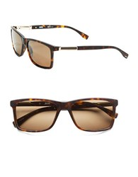 Hugo Boss 57Mm Wayfarer Sunglasses Dark Havana Light Gold