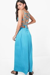 Boohoo Cross Back Strappy Maxi Dress Turquoise