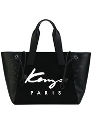 Kenzo Signature Tote Women Cotton Leather Nylon Polyurethane One Size Black
