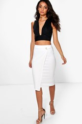 Boohoo April Wrap Front Buckle Midi Skirt White