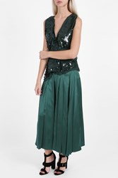 Rochas V Neck Sequin Top Green
