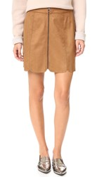 Wayf Warwick Zip Up Miniskirt Brown