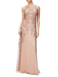 Adrianna Papell Plus Size Beaded Gown With Intricate Embroidery Rose Gold