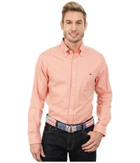 Vineyard Vines Bay Road Gingham Slim Tucker Shirt Campfire Men's Long Sleeve Button Up Orange