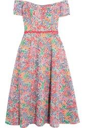Saloni Clementine Off The Shoulder Lace Trimmed Embroidered Tulle Dress Uk16
