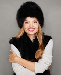 The Fur Vault Fox Fur Hat Black