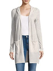 Saks Fifth Avenue Black Hooded Open Front Cardigan Light Heather Grey