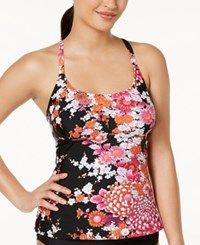 Island Escape Zen Gardens Printed Strappy Back Push Up Tankini Top Women's Swimsuit Black
