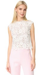 Monique Lhuillier Lace Sleeveless Shell White