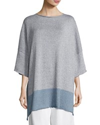 Eskandar Colorblock Drop Shoulder Top Gray