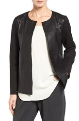 Eileen Fisher Women's Rumpled Luxe Leather And Knit Jacket