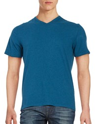 Black Brown V Neck Cotton Tee Medium Teal