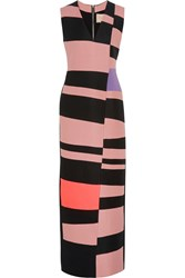 Roksanda Ilincic Adderley Color Block Wool Blend Gown Pink