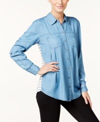 Styleandco. Style Co. Petite Striped Back Denim Shirt Only At Macy's Sailor Stripe