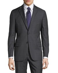 Hickey Freeman Plaid Worsted Wool Two Piece Suit Gray
