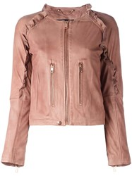 Diesel Ruffle Trim Leather Jacket Brown