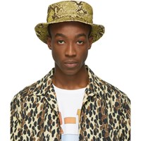 R 13 R13 Yellow Velvet Python Bucket Hat
